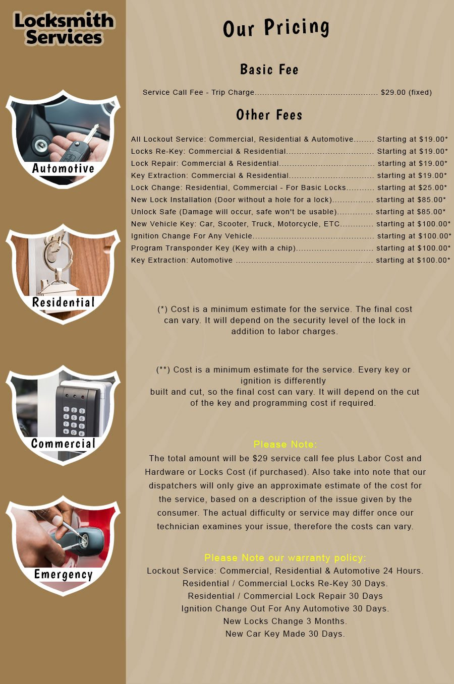 elite locksmith services price list